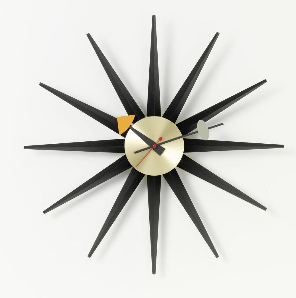 Sunburst Clock Wall Clock - black / brass Vitra