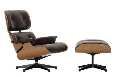 Eames Lounge Chair & Ottoman Sessel Vitra-Premium-nero-Amerikanisch-poliert, Seiten schwarz