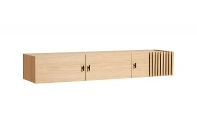 Array Low Sideboard Wall-Mounted White Pigmented Oak Woud