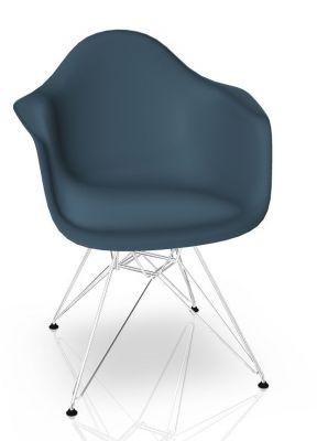 Eames Plastic Arm Chair DAR Chair Vitra Chrome - Sea blue