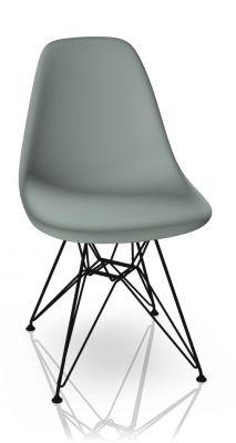 Eames Plastic Side Chair DSR Chair Vitra Black-Light grey