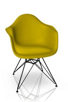 Eames Plastic Arm Chair DAR Chair Vitra Black - Mustard