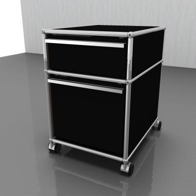 USM Haller Rollcontainer mit Hängeregistratur – graphitschwarz