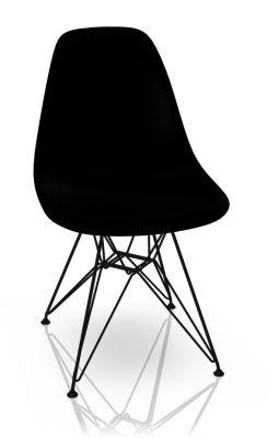 Eames Plastic Side Chair DSR Chair Vitra Black-Deep black