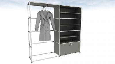 USM Haller wardrobe medium gray with clothes