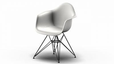 Eames Plastic Arm Chair DAR Chair Vitra Black - White